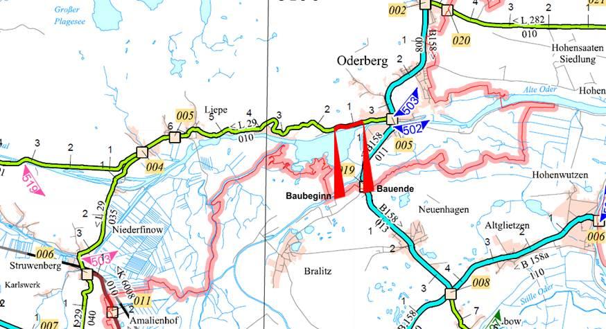 Karte der Baumaßnahme auf der L 29